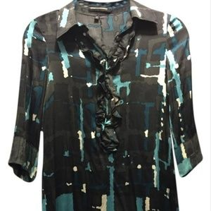 Design Studio Silk ruffled shirt dress